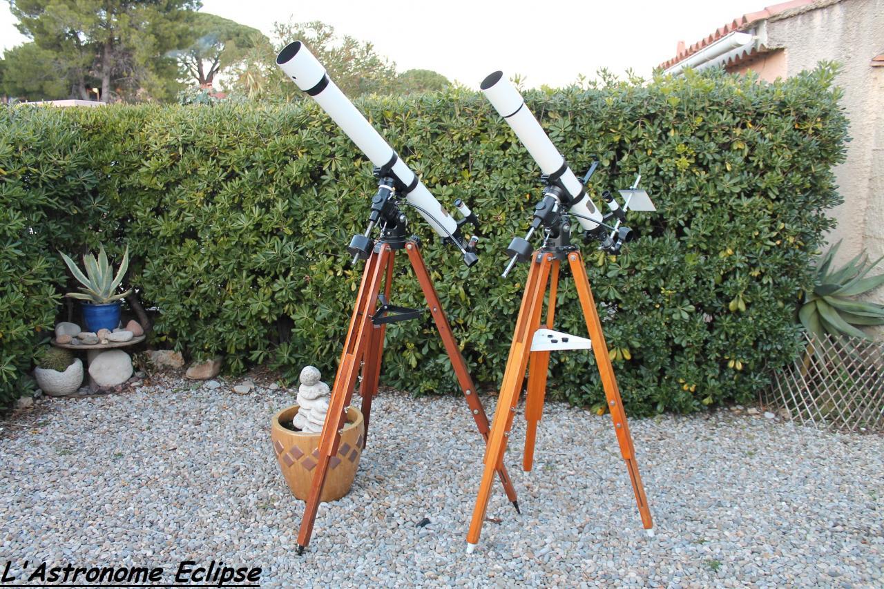 A gauche, la Vixen Polaris 80/1200; à droite, la Perl-Vixen 80/910