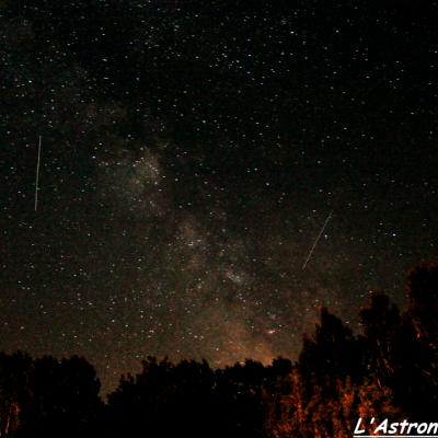 La Voie Lactée depuis le Quercy, avec au passage trois satellites...