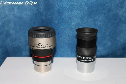 A gauche: le Vixen NLV 25mm. A droite: le Skywatcher Super-Plössl 25mm (image L'Astronome Eclipse)